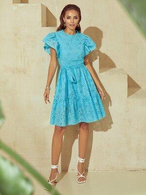 Ажурное летнее платье с поясом, прошва. 3 цвета