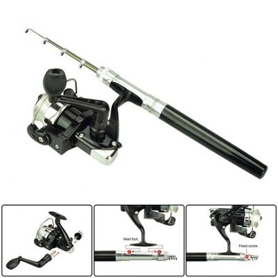 Карманная мини-удочка в боксе Pocket Pen Fishing Rod катушка Чёрная