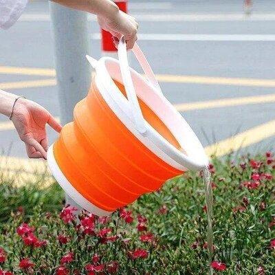 Ведро 10 литров туристическое складное Collapsible Bucket Оранжевое