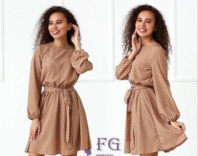 Легкое платье в горошек Софи 42-44 46-48 50-52
