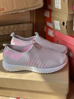 Серые мокасины, кроссовки текстиль розовый с серым