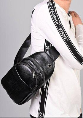 Продано: Мужская чёрная сумка через плечо