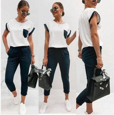 Жіночий літній костюм з брюками 42,44,46,48,50,52р 385гр У жіночий комплект літнього одягу входять