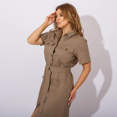 женское платье рубашка с поясом лен стрейч