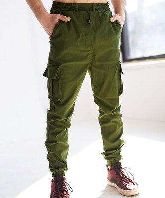 Штаны мужские карго на манжетах цвет зеленый хаки