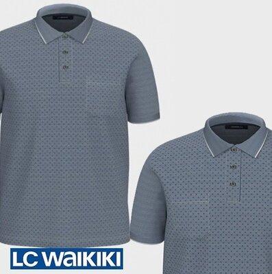 Голубое мужское поло LC Waikiki / Лс Вайкики с синим принтом и карманом на груди