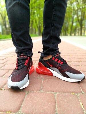 Мужские кроссовки найк Nike Air Max 270 черные с красным/серым