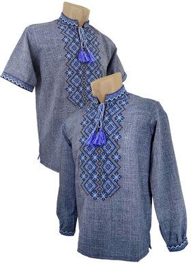 Молодіжна чоловіча вишиванка довгий та короткий рукав 42-70 Мужская Сорочка Вышиванка