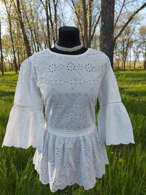 Шикарная хлопковая блуза с прошвой, рукав волан