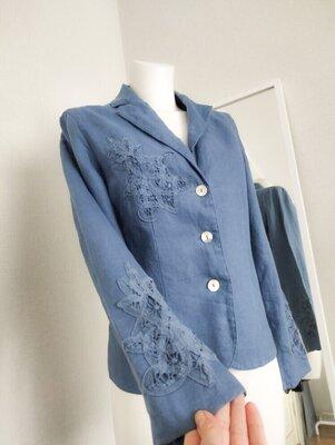 M/L Брендовый пиджак жакет льняной винтаж