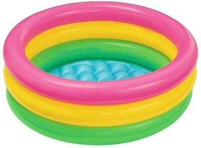 Детский надувной бассейн надувное дно радуга Intex