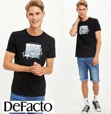 Черная мужская футболка Defacto / Дефакто Tokyo Metropolis