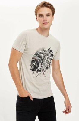 Мужская футболка Defacto / Дефакто с индейцем на груди