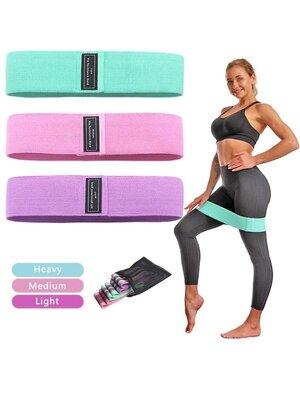 3 шт - набор тканевые фитнес-резинки ленты сопротивления эспандер