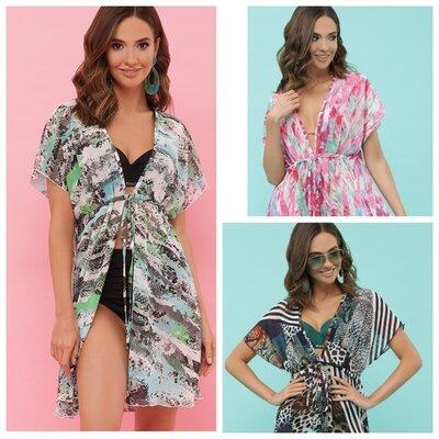 Туника шифоновая туника жіноча туника пляжная туника с принтом женская блузка