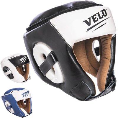 Шлем боксерский открытый с усиленной защитой макушки кожаный Velo 2211 размер M-XL, 3 цвета
