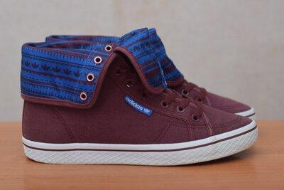 Бордовые высокие кеды, кроссовки Adidas, 40 размер. Оригинал