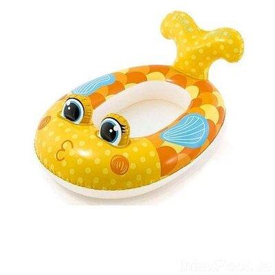 Детский надувной плавательный круг лодка для плавания купания плотик рыбка желтая Intex 59380 100х97