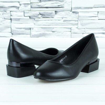 Туфли женские на низком каблуке черные эко кожа b-482