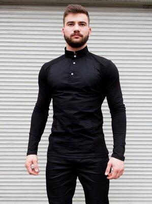 Мужская стильная рубашка чёрная , воротник стойка