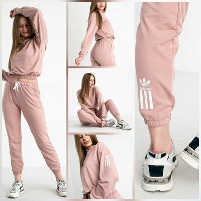 Женский спортивный костюм двунитка пудра Adidas, p. S, M, L, XL