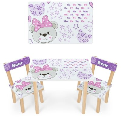 детский стол и 2 стула 501 мишка с бантиком разные