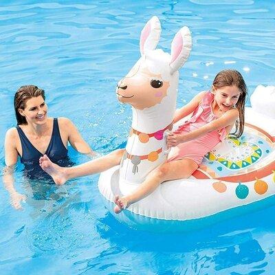 Детский надувной плотик для плавания детей в бассейне Intex «Лама» 57564 NP размер 135 94 112 см