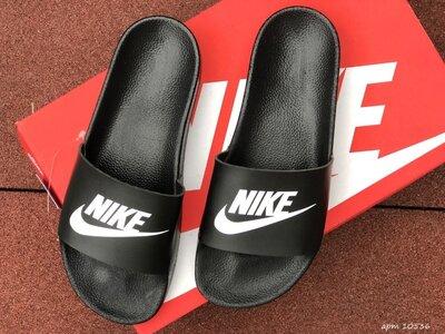Nike шлёпанцы мужские черные с белым 10536