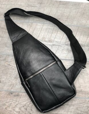 Кожаная мужская сумка-слинг, черного цвета, нагрудная, натуральная кожа