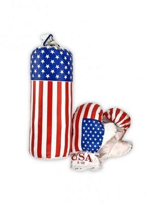 Детский боксерский набор Америка 0001 S-USA с перчатками