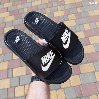 Шлепанцы мужские Nike, черные, массажные