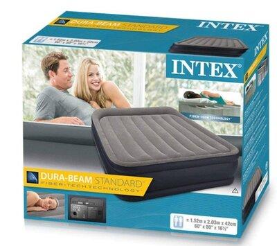 Двуспальная надувная кровать Intex 64136, встроенный насос, размеры 152 х 203 х 42см