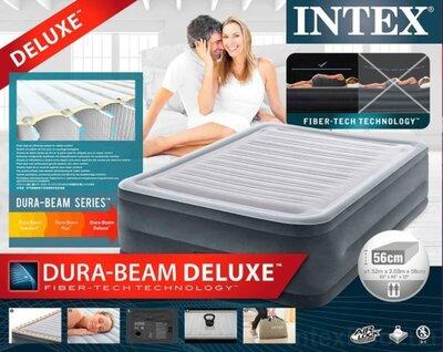 Надувная кровать Intex 64418, встроенный электронасос. Двухспальная 152 х 203 х 56