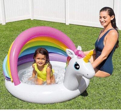 Детский надувной бассейн Intex 57113 Единорог, надувное дно