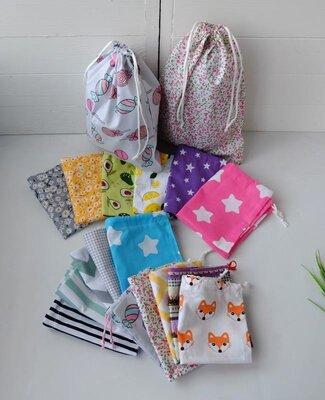 Эко мешочки из хлопка ассорти, эко торбочка, эко пакет для продуктов, хранения