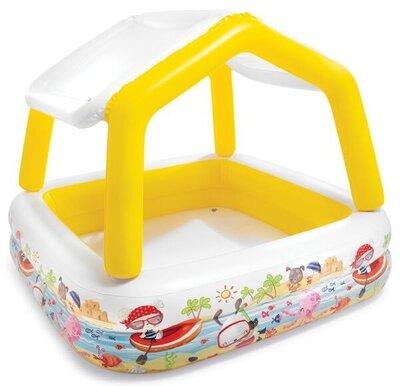 Детский надувной бассейн со съемной крышей, детский бассейн