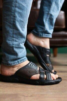 Шлепанцы мужские кожаные Clubshoes, черные