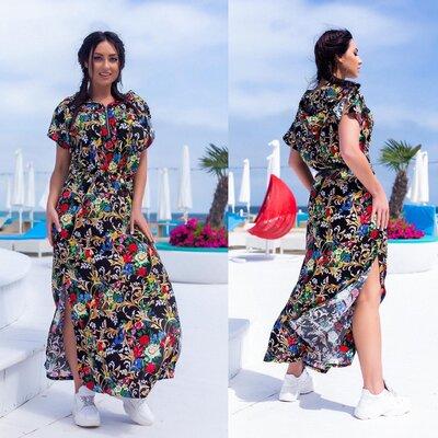 Женское летнее длинное платье из штапеля хлопока макси в пол женские длинные летние платья прямые