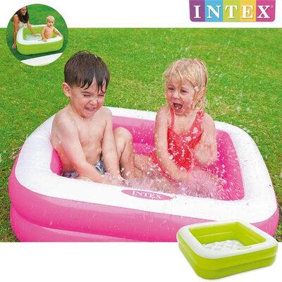 Детский надувной бассейн intex квадратики надувное дно, 2 цвета
