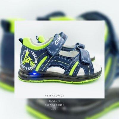 Сандалии, босоножки для мальчика, летняя обувь, обувь из натуральной кожи, лед подсветка
