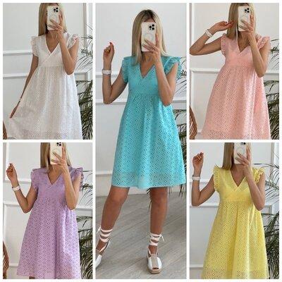 Шикарное платье свободного кроя из прошвы 5 цветов
