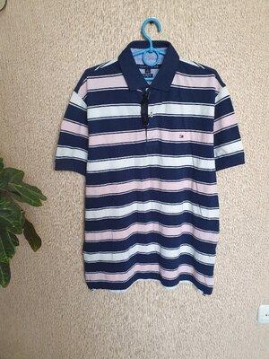 Стильная футболка-поло , футболка в полоску от Tommy Hilfiger, оригинал, новая