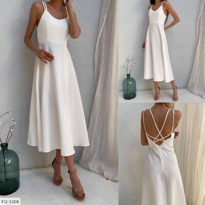 Белое длинное платье - комбинация, длина - миди,