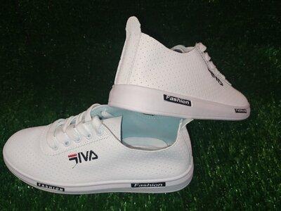 Белые кроссовки натуральная перфорированная кожа