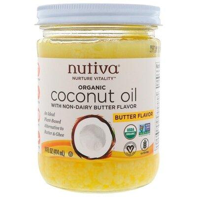 Продано: Nutiva, Органическое кокосовое масло, с ароматом сливочного масла, 414 мл