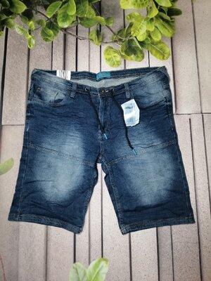 Крутые мужские шорты из мягкого денима синие