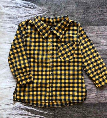 Детская рубашка для мальчика трикотажная желтая в клетку от 4 до 7 лет