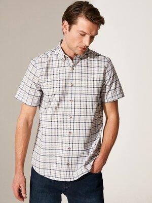 Белая мужская рубашка LC Waikiki/ЛС Вайкики с карманом на груди, в синюю клетку и клетку цвета хаки