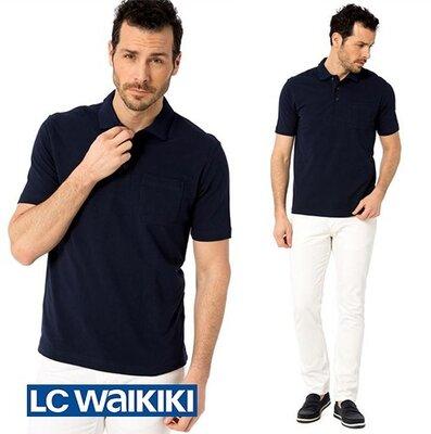 Темно-Синее мужское поло LC Waikiki/ЛС Вайкики с карманом на груди
