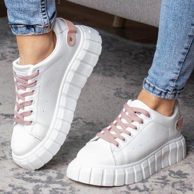 Кроссовки женские белые, жіночі кросівки з рожевими шнорівками